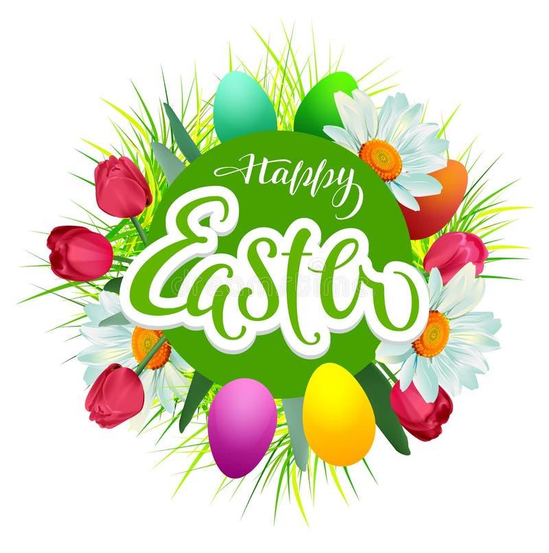 Lyckligt kort för påsktexthälsning blommor och kulöra ägg stock illustrationer