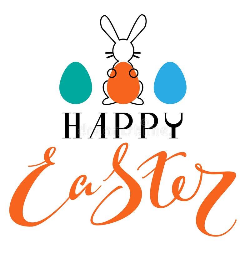 Lyckligt kort för påsktexthälsning Påsk för symbol för ägg för kaninkonturinnehav kulör vektor illustrationer