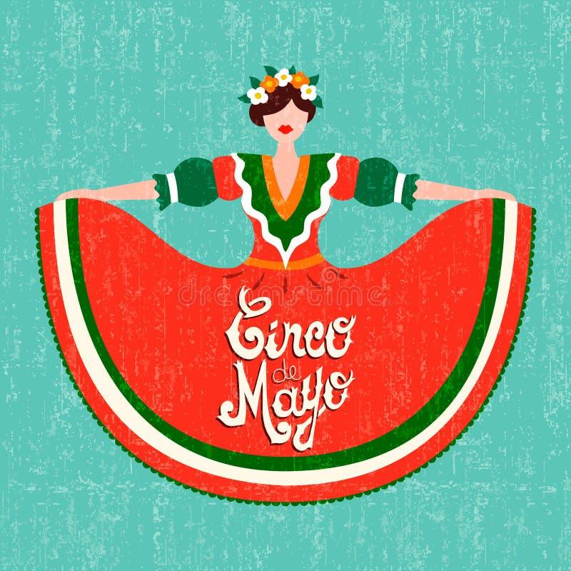 Lyckligt kort för parti för cincode mayo med den mexikanska flickan vektor illustrationer