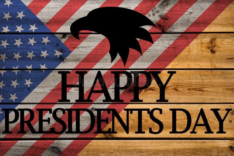 Lyckligt kort för presidentdaghälsning på träbakgrund stock illustrationer