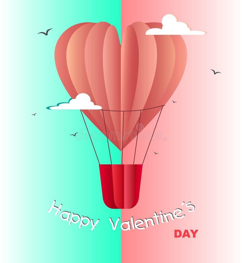 Lyckligt kort för valentindaghälsningar med den realistiska pappers- klippta ballongen för varm luft för hjärtaformflyg med en ba royaltyfri illustrationer