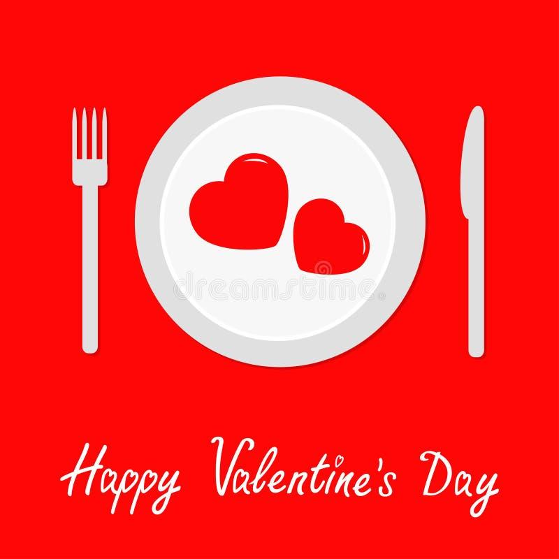 Lyckligt kort för valentindagmeny Dela sig, baktala, plätera med två hjärtor röd tablecloth Picknickfilt Sänka designstil Romanti vektor illustrationer