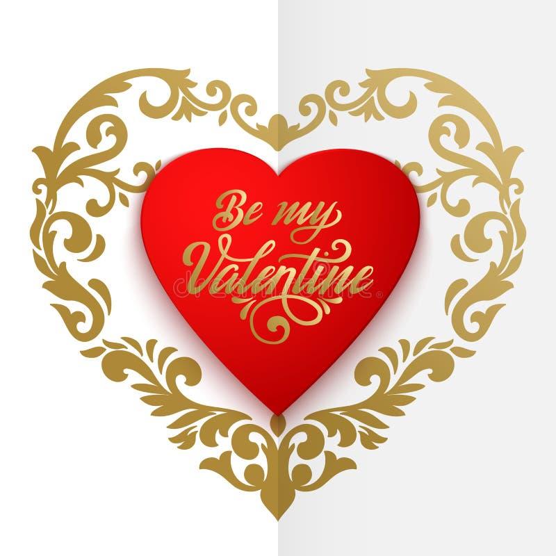 Lyckligt kort för valentindagvektor Stor röd hjärta med blom- prydnader och elegant handskriven text är min valentin vektor illustrationer