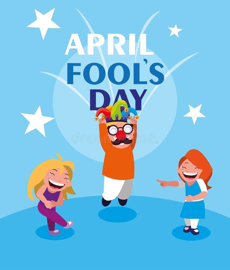 Lyckligt kort f?r dag f?r liten flickaapril dumbommar royaltyfri illustrationer