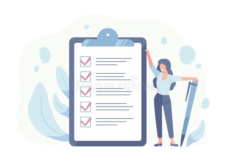Lyckligt kvinnaanseende bredvid jätte- kontrolllista och hållande penna Begrepp av lyckad avslutning av uppgifter, effektiv dagst stock illustrationer