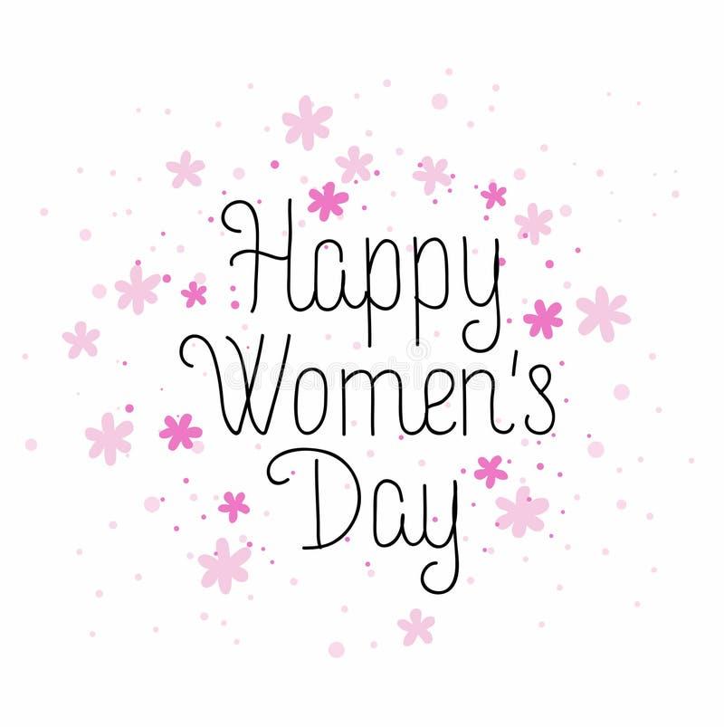Lyckligt kvinnors dagkort royaltyfri illustrationer