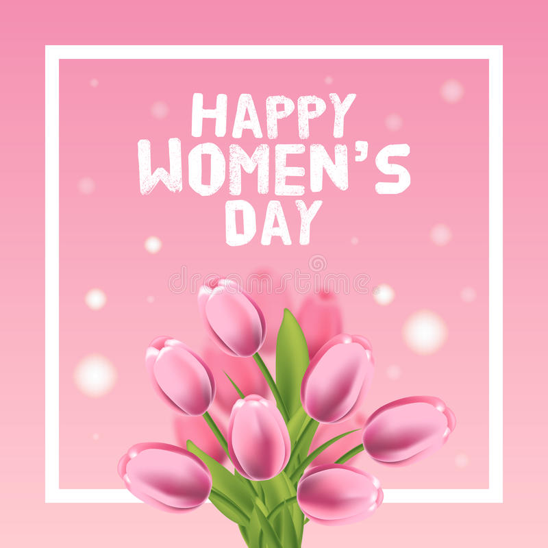 Lyckligt kvinnors dagkort Tulpan och ram också vektor för coreldrawillustration vektor illustrationer