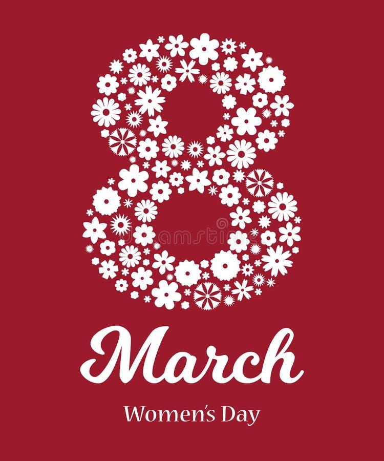 Lyckligt kvinnors dagkort stock illustrationer