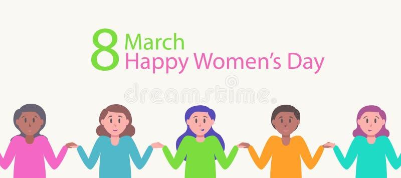 Lyckligt kvinnors kort för daghälsning för internationell 8 marsch royaltyfri illustrationer
