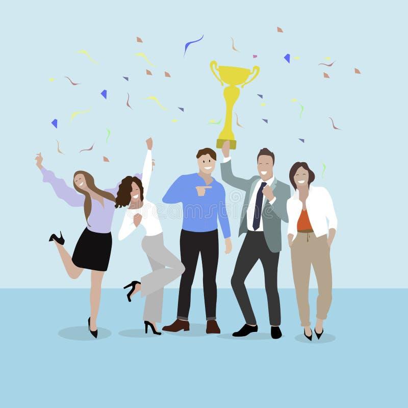 lyckligt lag för affär Grupp av affärsfolk med koppen royaltyfri illustrationer
