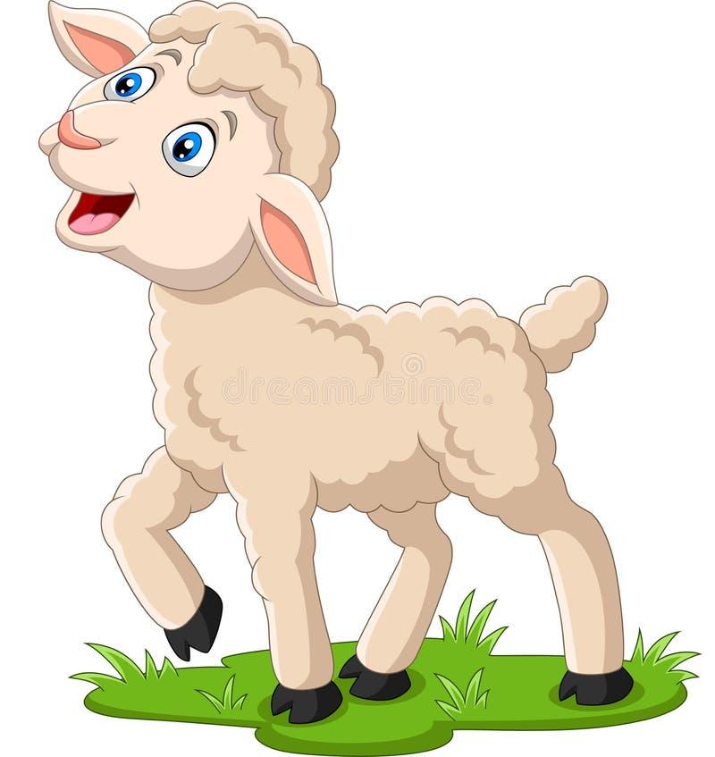 Lyckligt lamm för tecknad film på gräset stock illustrationer