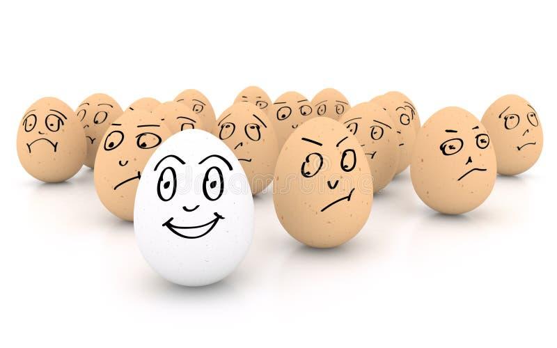 Lyckligt le ägg på vit bakgrund royaltyfri illustrationer