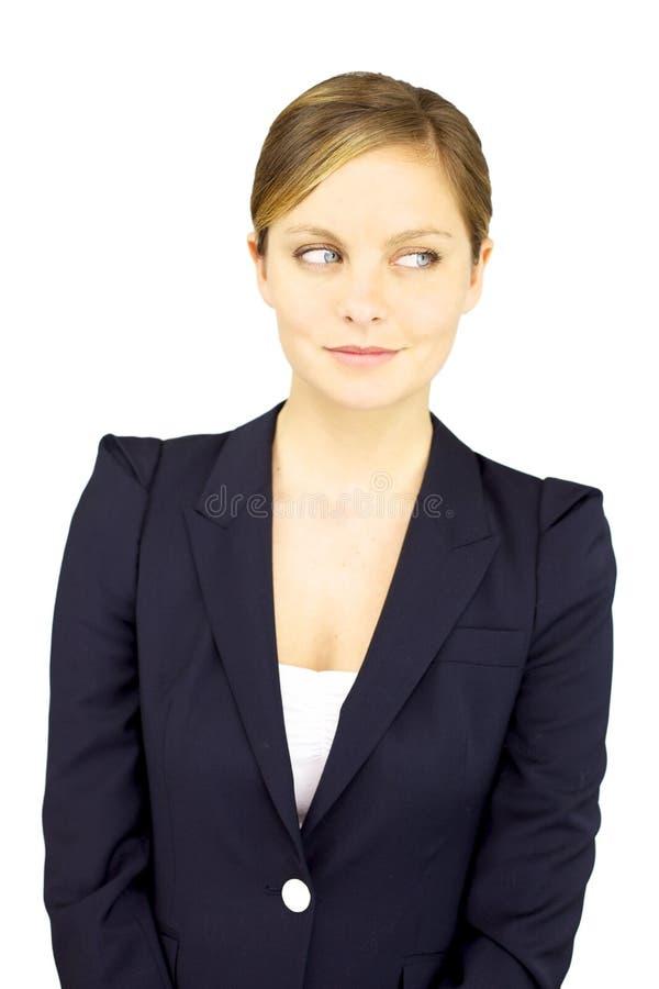 Lyckligt le för affärskvinna royaltyfri foto
