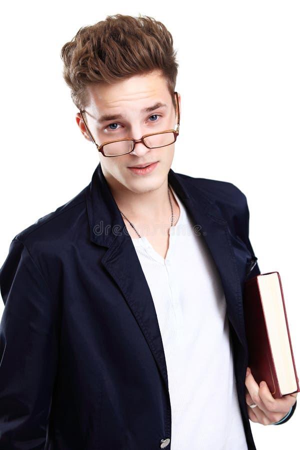 Lyckligt le för manlig student royaltyfri foto