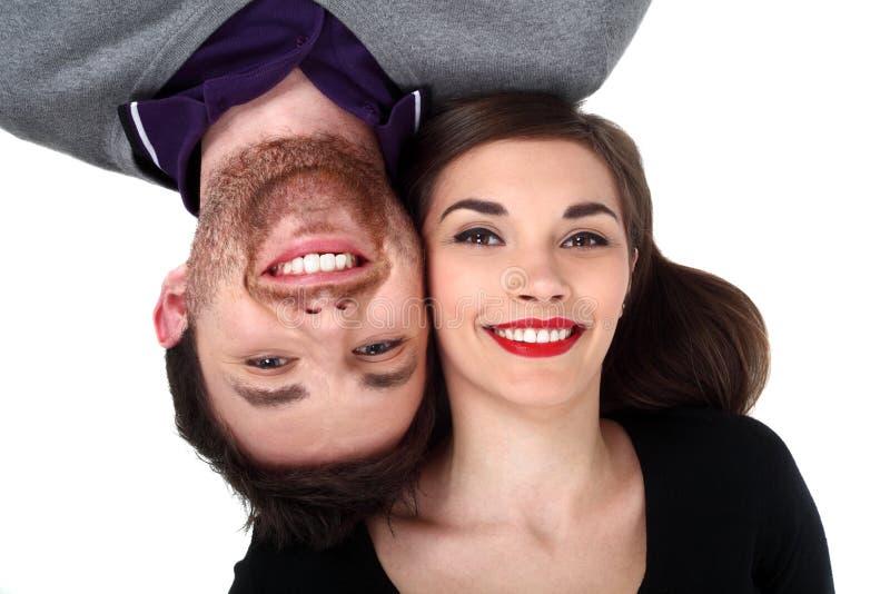 lyckligt le för par arkivfoton
