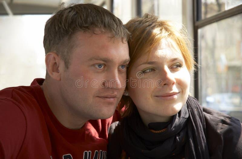 lyckligt le för par royaltyfria foton