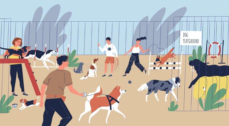 Lyckligt le folk som spelar med hundkapplöpning på lekplatsen Gulliga roliga män och kvinnor som går och utbildar tamdjur vektor illustrationer