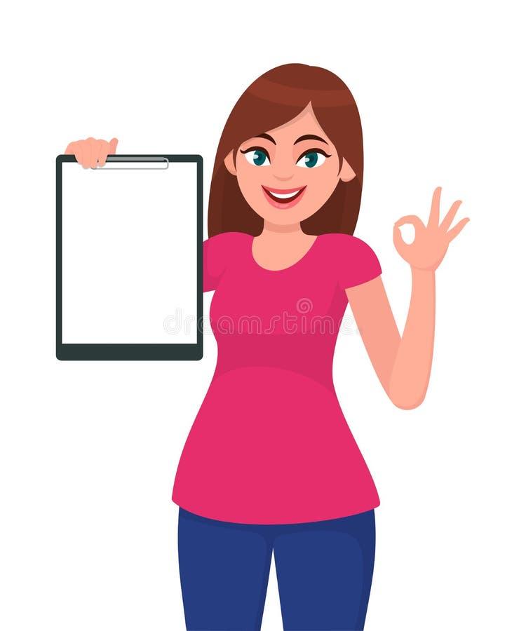 Lyckligt le härligt rymma för ung kvinna/som visar ett tomt skrivplatta- och gesthandgodkännande/det reko tecknet royaltyfri illustrationer