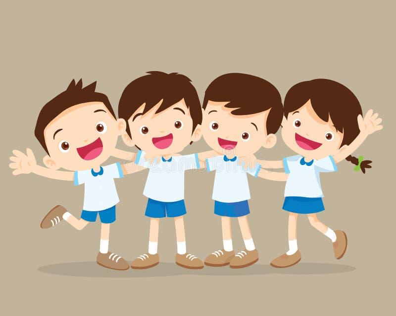 Lyckligt le krama för elev royaltyfri illustrationer