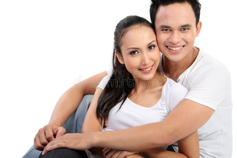 lyckligt leende för par royaltyfria foton