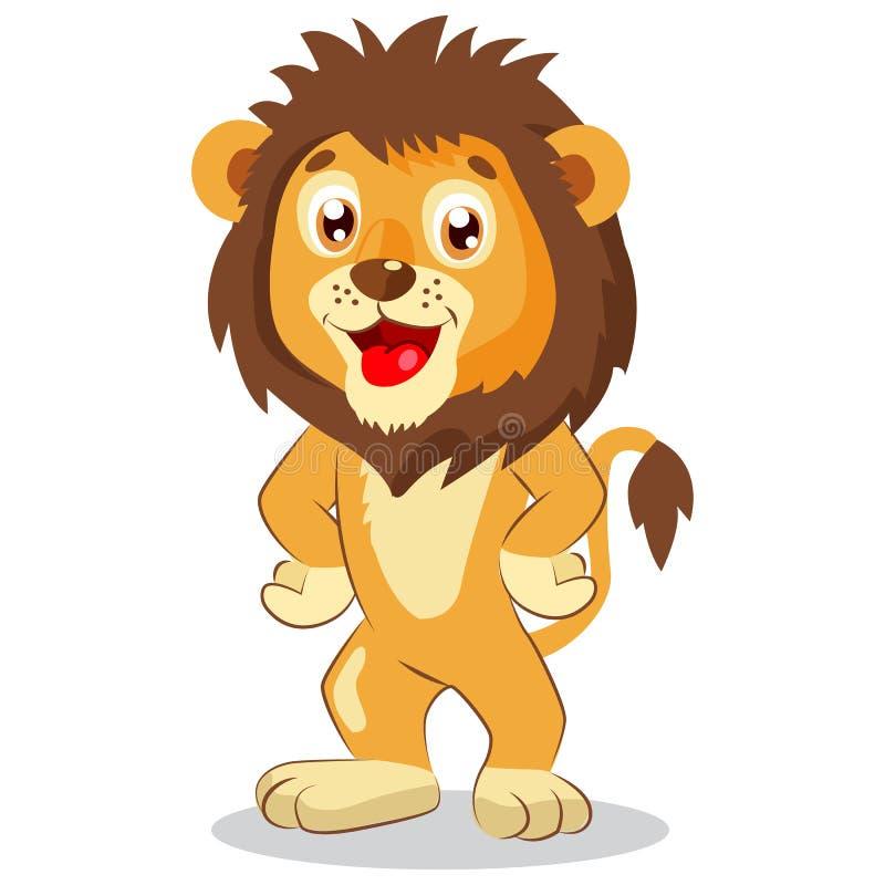 Lyckligt Lejonet Tecknad film Lion Vector gulligt tecken Lurar den roliga illustrationen vektor illustrationer