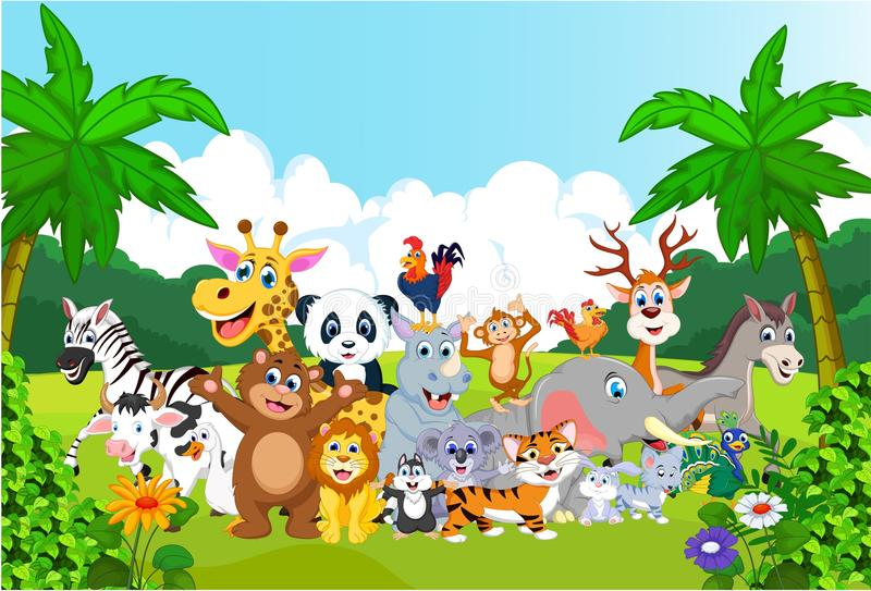 Lyckligt litet djur för tecknad film i zoo royaltyfri illustrationer