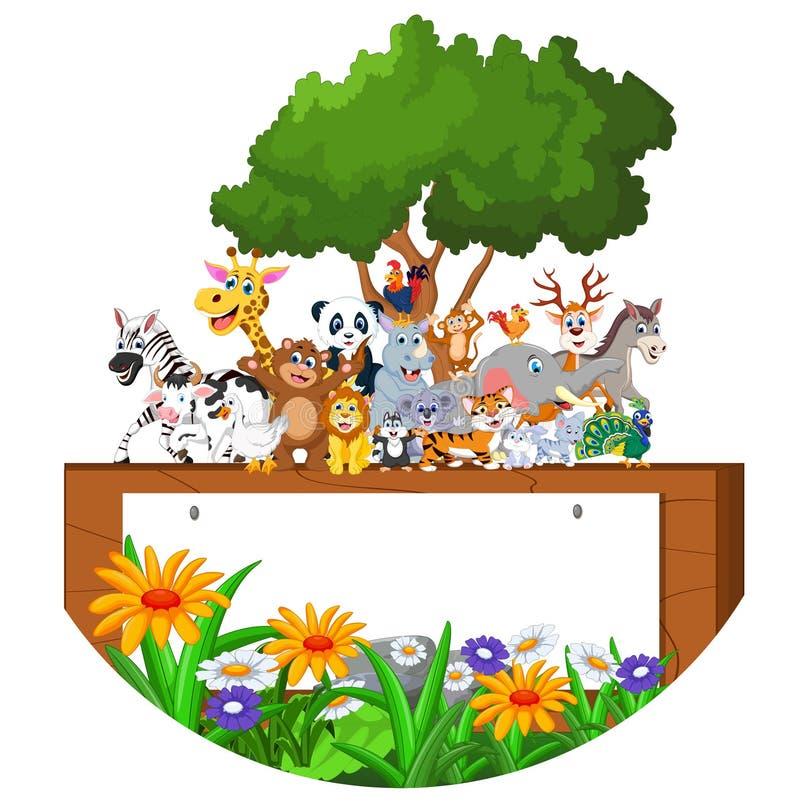 Lyckligt litet djur för tecknad film med det tomma tecknet royaltyfri illustrationer