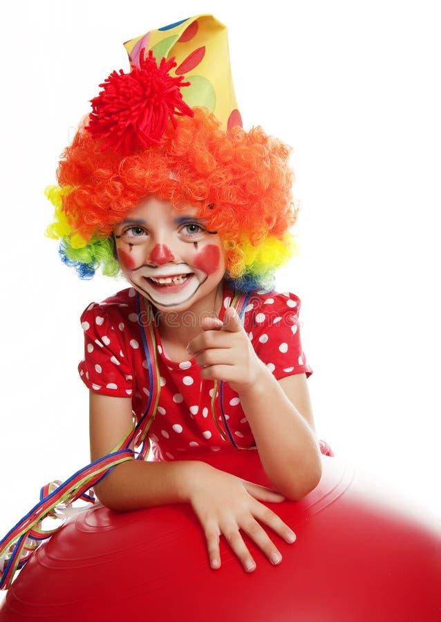 Lyckligt little clown som pekar på något arkivbilder