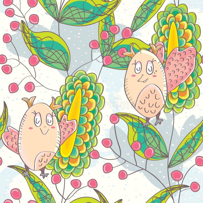 Lyckligt liv Seamless Pattern_eps för Owl vektor illustrationer