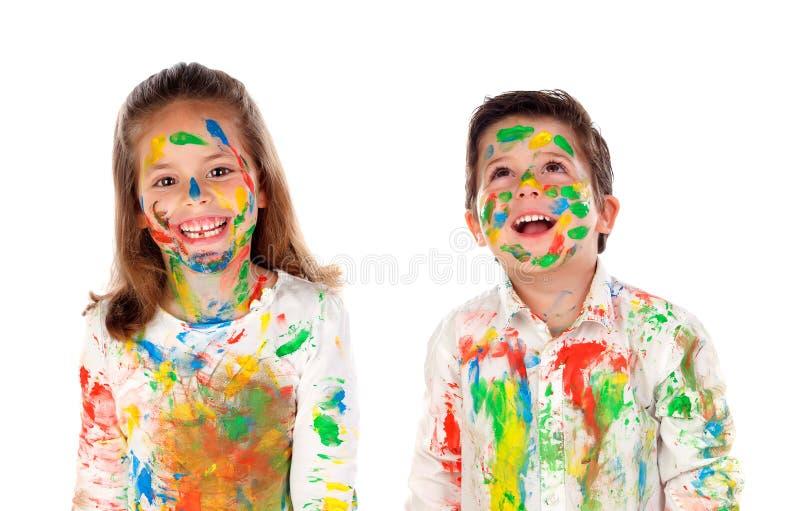 Lyckligt måla för barn royaltyfria bilder