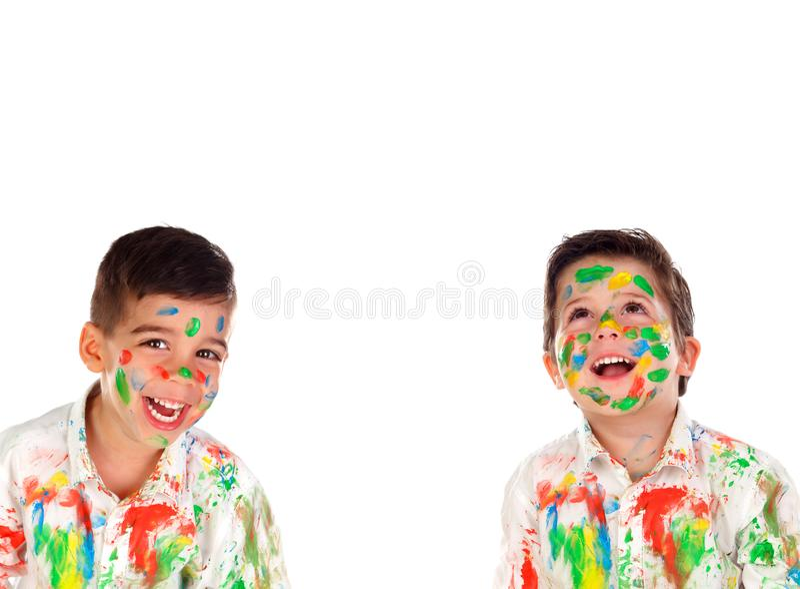 Lyckligt måla för barn arkivbilder