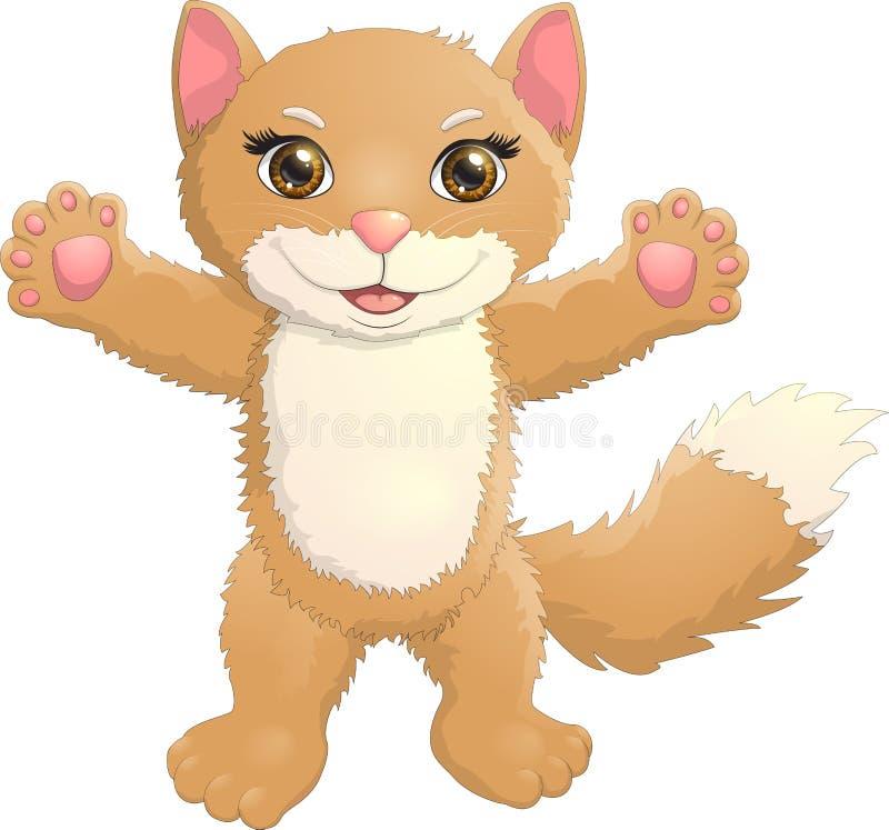 Lyckligt möte för brun kattunge dig royaltyfria bilder