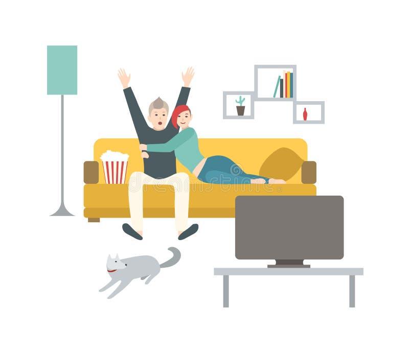 Lyckligt man- och kvinnasammanträde på den bekväma soffan som äter popcorn och håller ögonen på sporten för att spela på TV Att g stock illustrationer