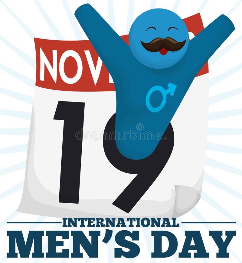 Lyckligt manligt symbol med mustaschen som firar den internationella dagen för man` s, vektorillustration stock illustrationer