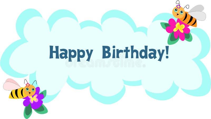 lyckligt meddelande för bifödelsedagram royaltyfri illustrationer