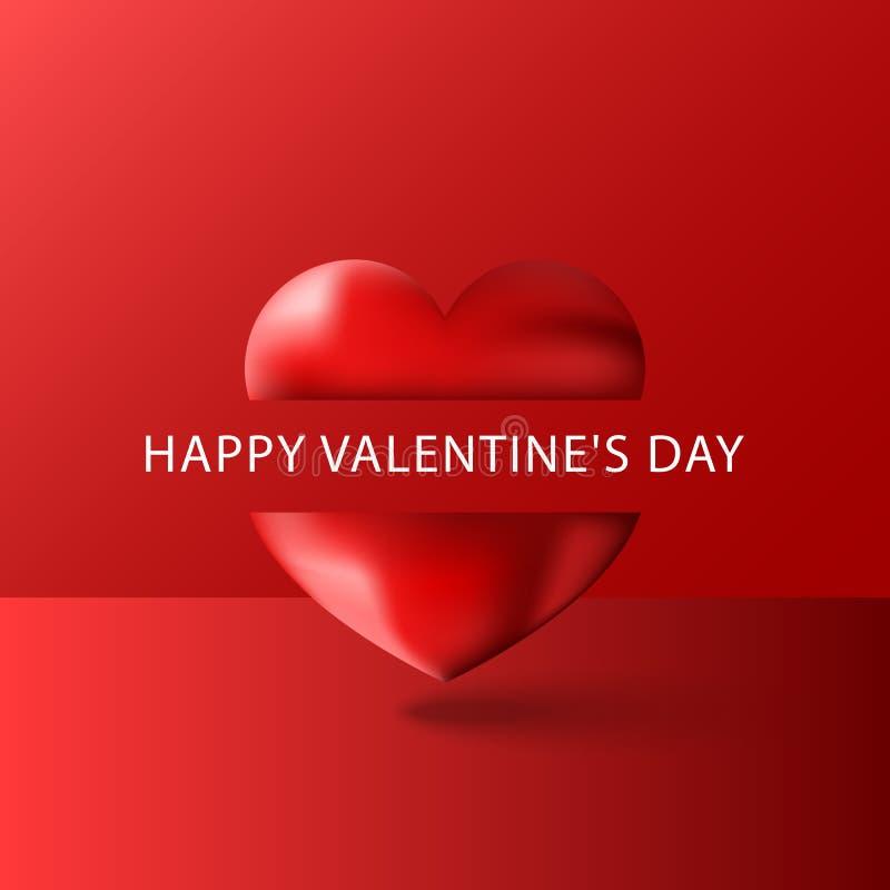 Lyckligt mellanrum för kort för hälsning för valentindagtext, purpurfärgad volymetrisk hjärta som 3d delas av en slogan på en röd stock illustrationer