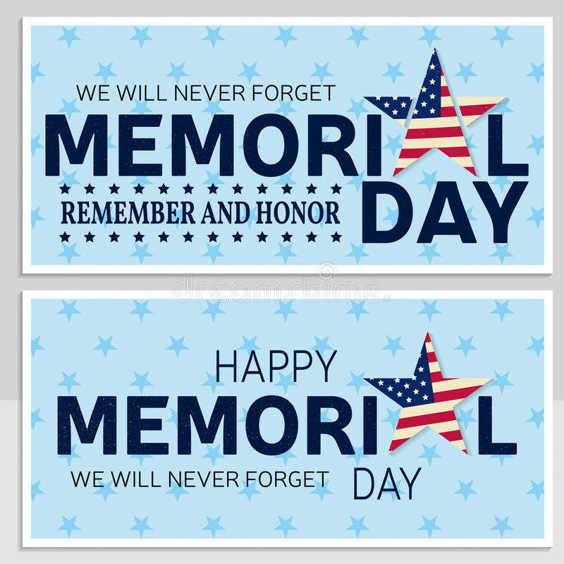 Lyckligt Memorial Day hälsningkort, reklamblad Lycklig Memorial Day affisch Patriotiskt baner för websitemall också vektor för co royaltyfri illustrationer