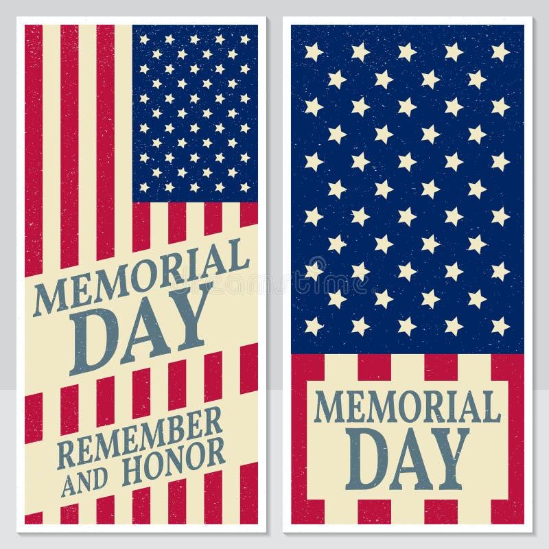 Lyckligt Memorial Day hälsningkort, reklamblad Lycklig Memorial Day affisch Patriotiskt baner för websitemall vektor royaltyfri illustrationer