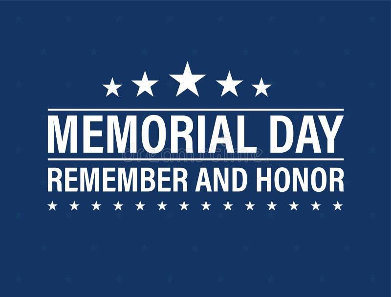 Lyckligt Memorial Day kort Nationell amerikansk ferie Festlig affisch eller baner med handbokstäver också vektor för coreldrawill royaltyfri illustrationer