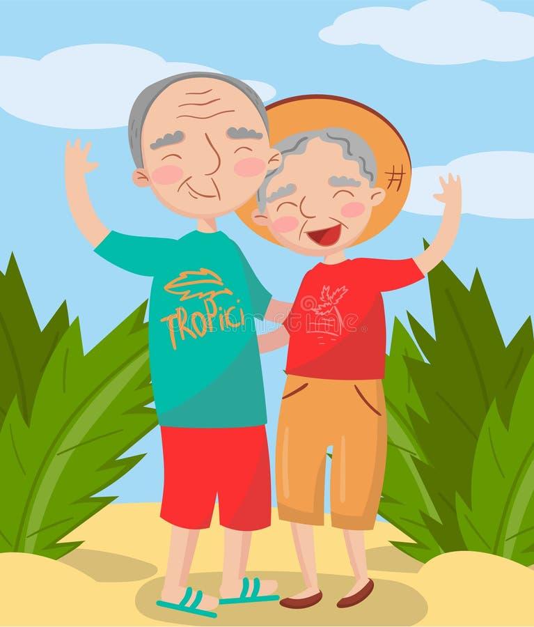 Lyckligt mogna par som poserar på stranden, bästa ögonblick på bilder, ståenden av familjemedlemvektorillustrationen vektor illustrationer