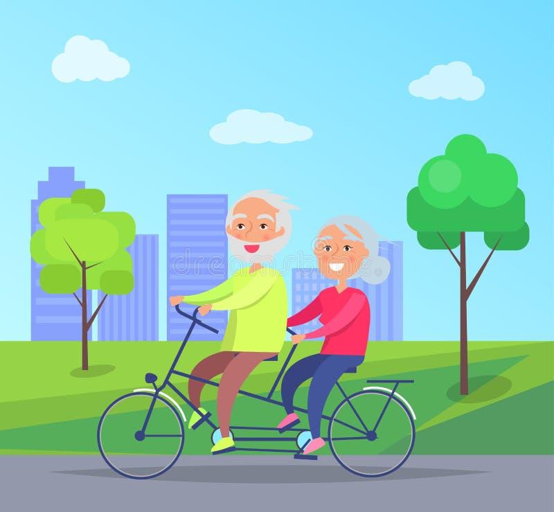 Lyckligt mogna par som tillsammans rider på cykeln vektor illustrationer
