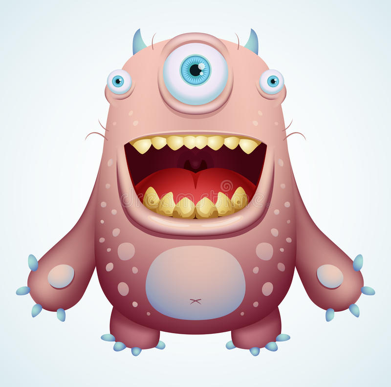 lyckligt monster stock illustrationer