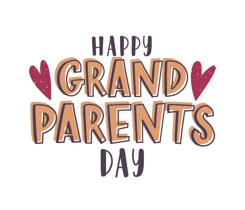 Lyckligt morförälderdagmeddelande som är handskrivet med den eleganta stilsorten och dekorerar av hjärtor Calligraphic textsamman royaltyfri illustrationer