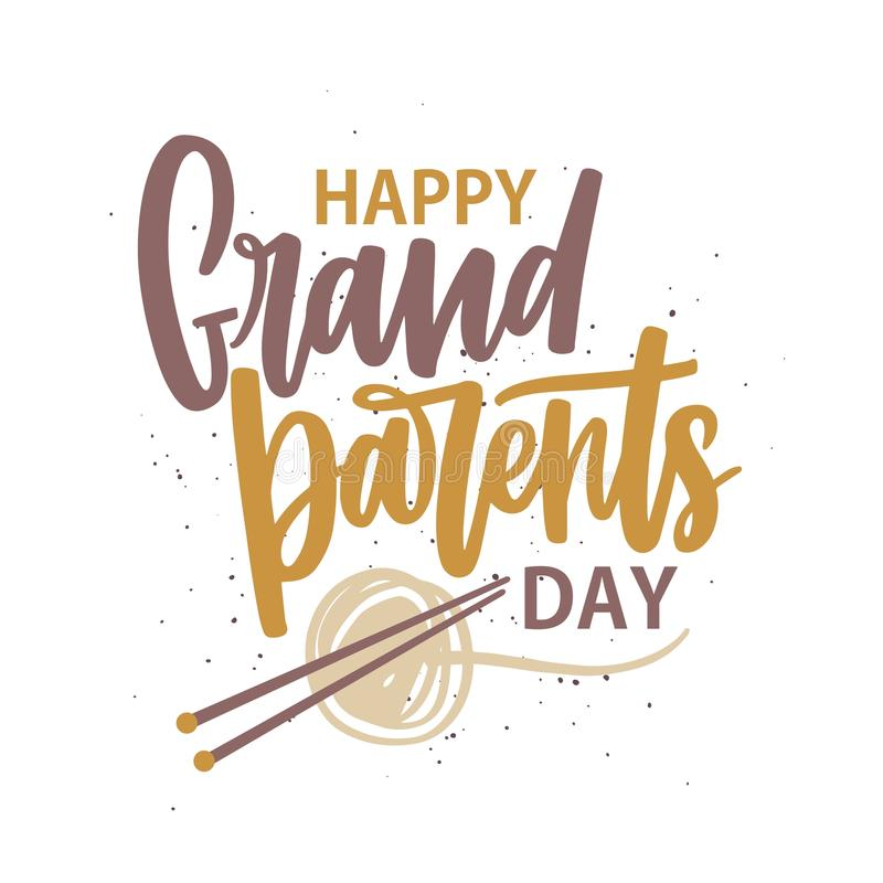 Lyckligt morförälderdagmeddelande som är skriftligt med den kursiva stilsorten och dekorerar av garnnystan och stickor handskrive stock illustrationer