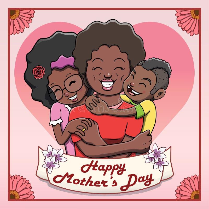Lyckligt Mother's dagkort - svart moder som kramas av hennes barn stock illustrationer