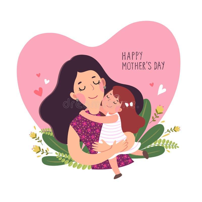 Lyckligt mother'sdagkort Gullig liten flicka som kramar hennes moder i formad hjärta royaltyfri illustrationer