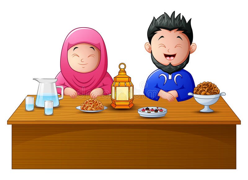 Lyckligt muslimparavbrott som tillsammans fastar royaltyfri illustrationer