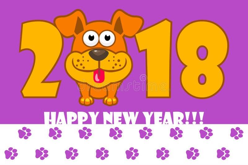 lyckligt nytt år Året 2018 är en gul jordhund illustration för hund för bakgrundstecknad filmdesign Räkning för kalendern vektor illustrationer