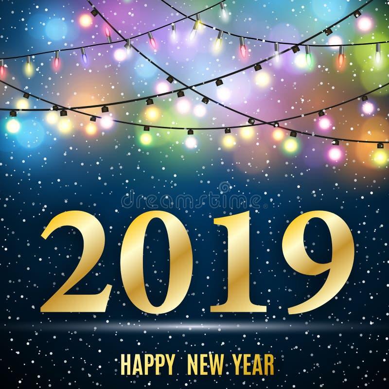 Lyckligt nytt 2019 år stock illustrationer