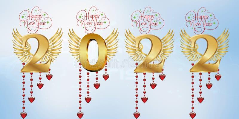 Lyckligt nytt år 2022 vektor illustrationer